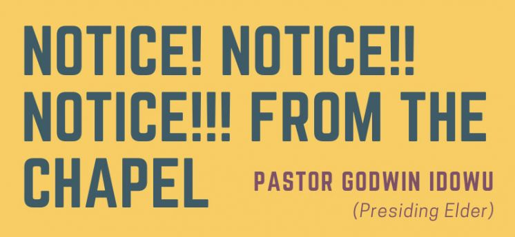 NOTICE! FROM THE CHAPEL: COVID-19